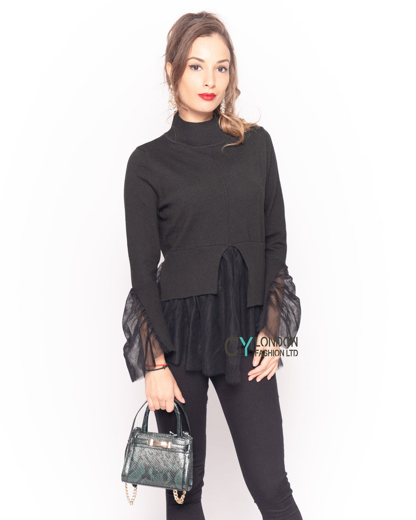 Ruffle lace  sleeves soft knit plain color Jumper