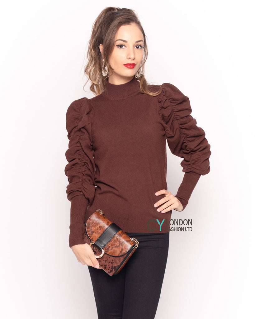 Gathered sleeves soft knit plain color Jumper