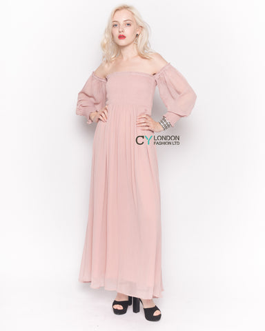 Off Shoulder Chiffon Maxi Dress with Long Sleeves in Pink