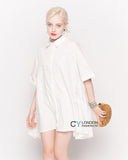 Oversized Short Sleeve Shirt with Frill Detail on Sides in White