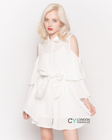 Cold Shoulder Shirt with Flared Sleeves and Mesh Back in White