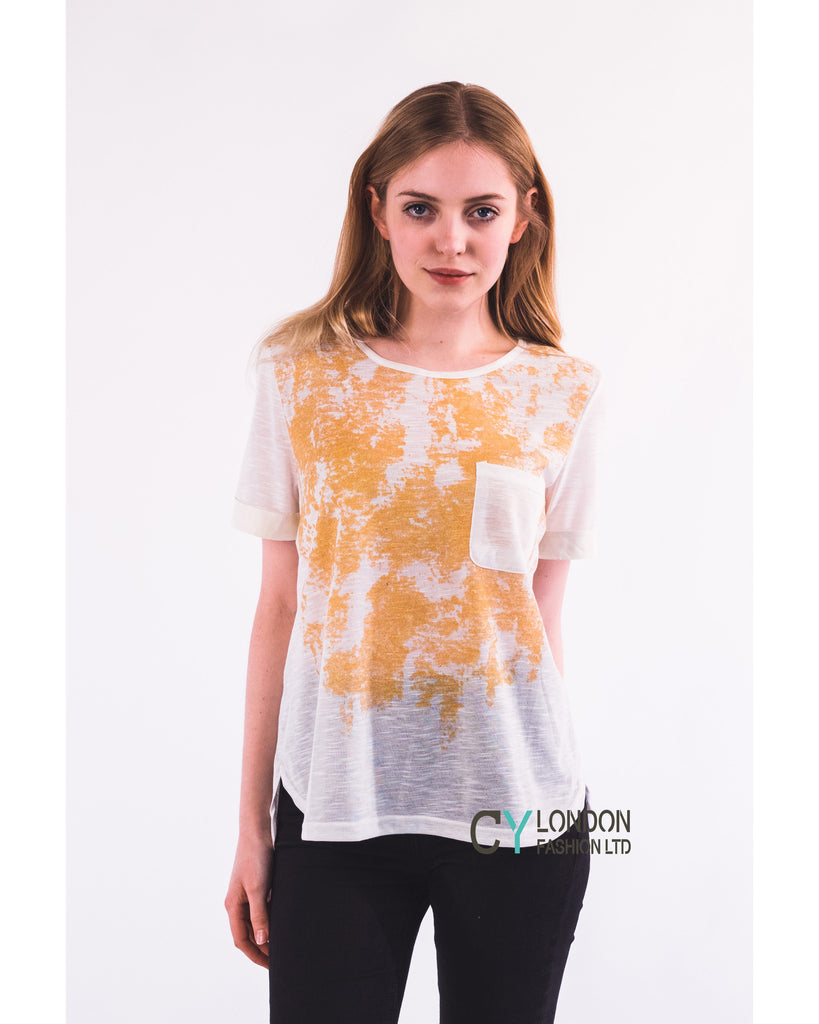 Gold Print T-shirt with Pocket (BLACK)