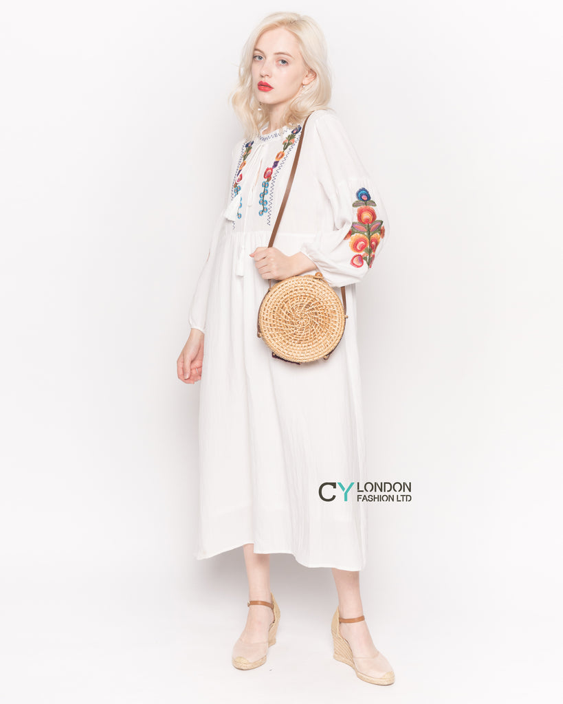 Long Sleeve Linen Maxi Dress with Floral Embroidery in Cream