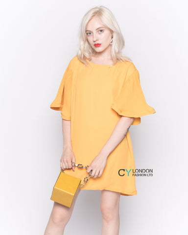 Top with Oversized Ruffle Sleeves in Mustard Yellow