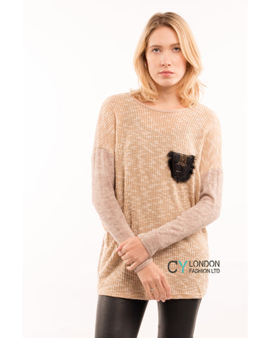 Tweed effect and color block Jumper top