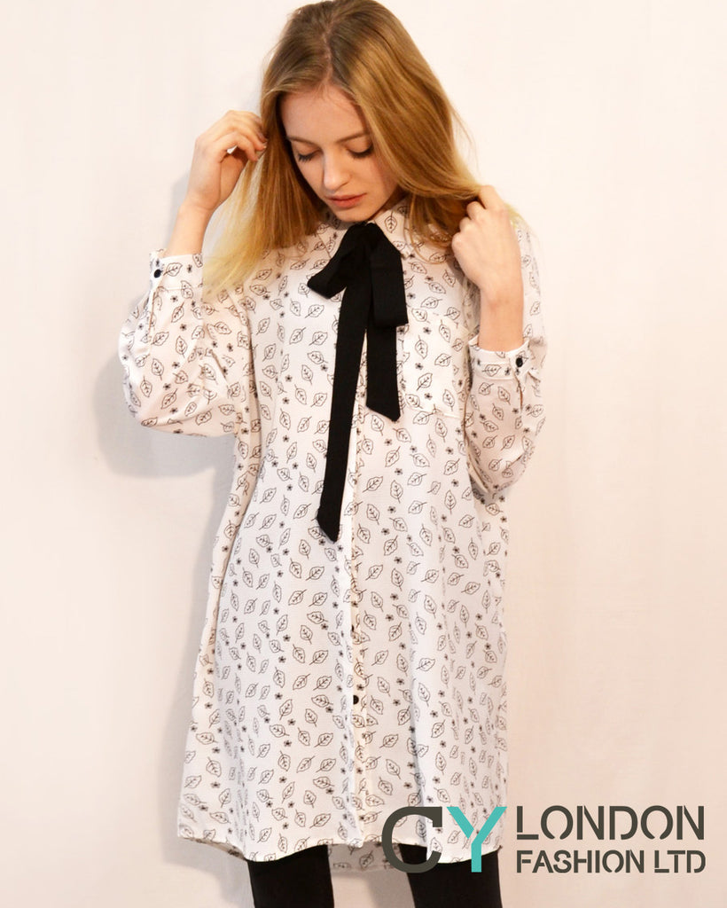 Leaves print shirt dress with scar