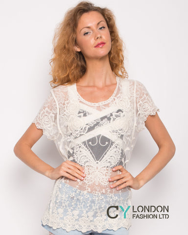 Crochet Top with Butterfly detail (Cream)