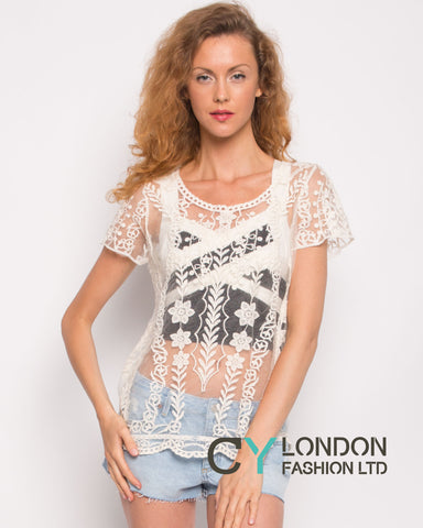 Crochet Top with Leave's Detail