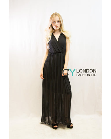Chiffon Cross Wrap Maxi Dress Black