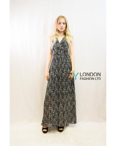 Chiffon Cross Wrap Maxi Dress Black Floral