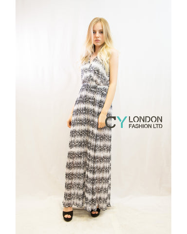 Chiffon Cross Wrap Maxi Dress Black White