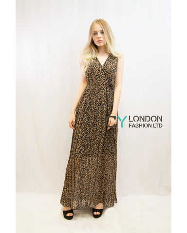 Chiffon Cross Wrap Maxi Dress Brown Leopard