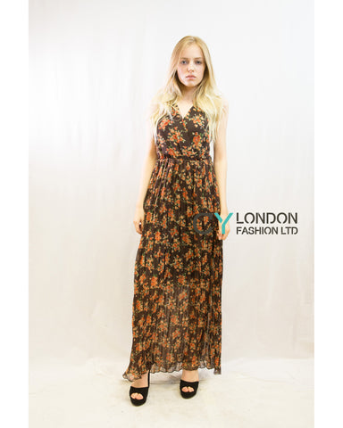 Chiffon Cross Wrap Maxi Dress Brown + Orange Floral