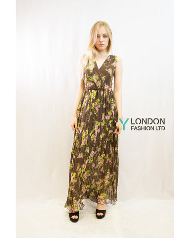 Chiffon Cross Wrap Maxi Dress Brown + Pink Floral