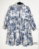 Blue Floral and Animal print Silky feeling oversize dress