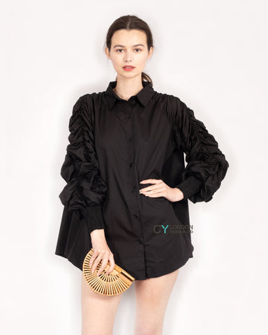 Cotton shirt with Ruched Sleeve in black