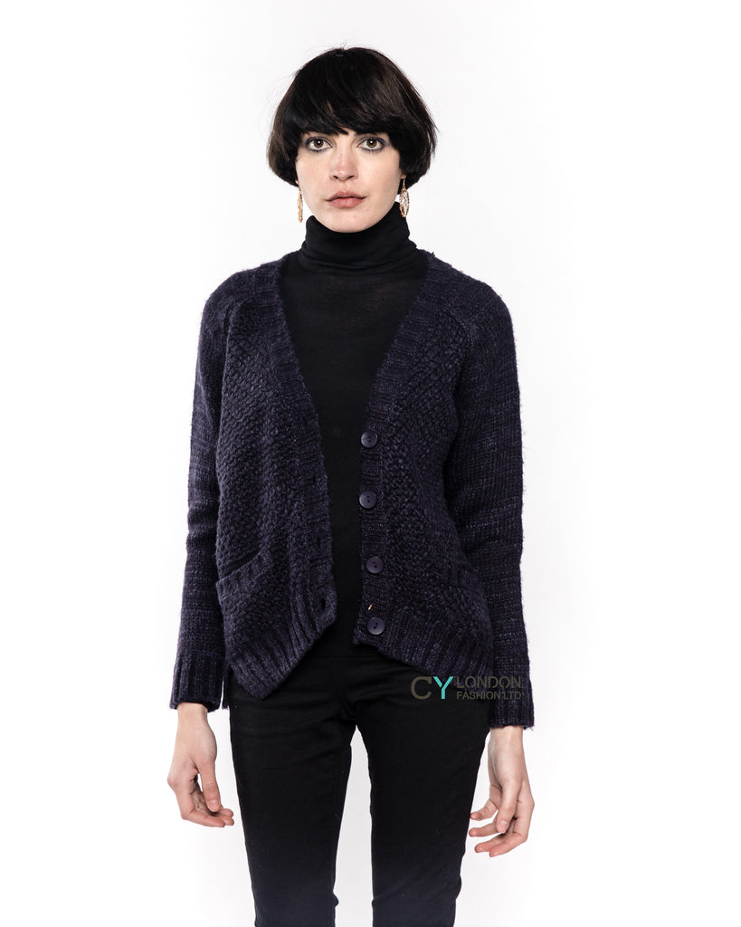 Relaxed Ribbed Cable Navy Color Cardigan