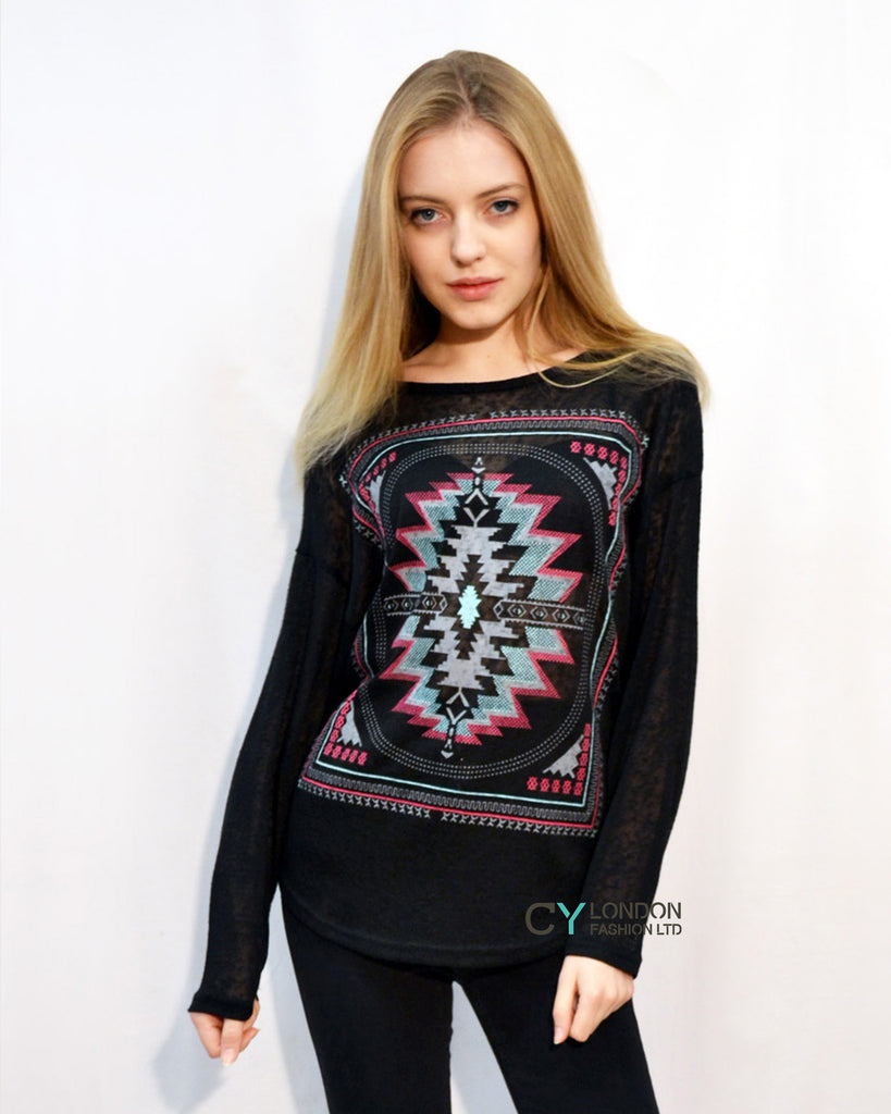 Floral Mirrored Print Long Sleeve