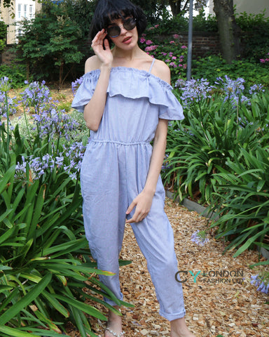 Blue Stripe Cotton Blend Jumpsuits