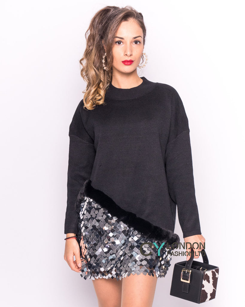 Mirror Sequins and Faux Fur Jumper