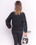 Sequin Sleeve Jumper in Black