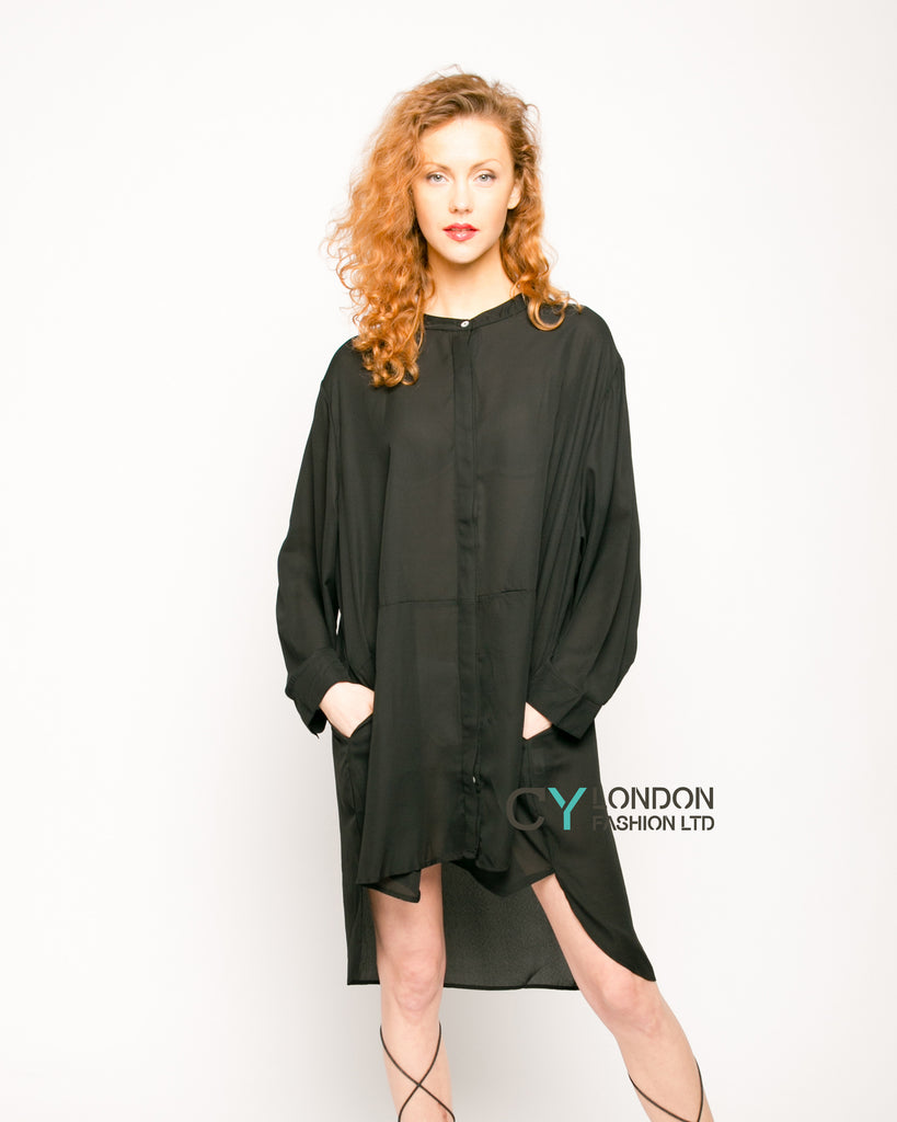 Plain color oversize shirt dress