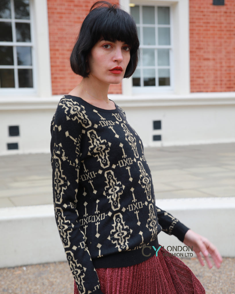 Metallic gold trims Fair-isle Print  Jumper