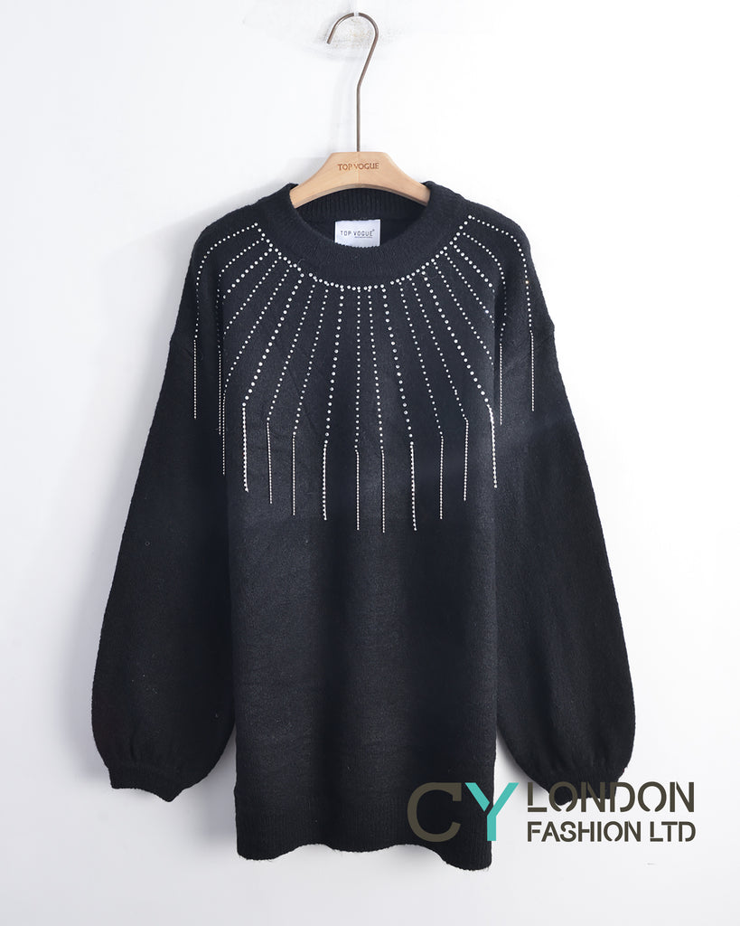 Multi Chain and crystal embellished Jumper