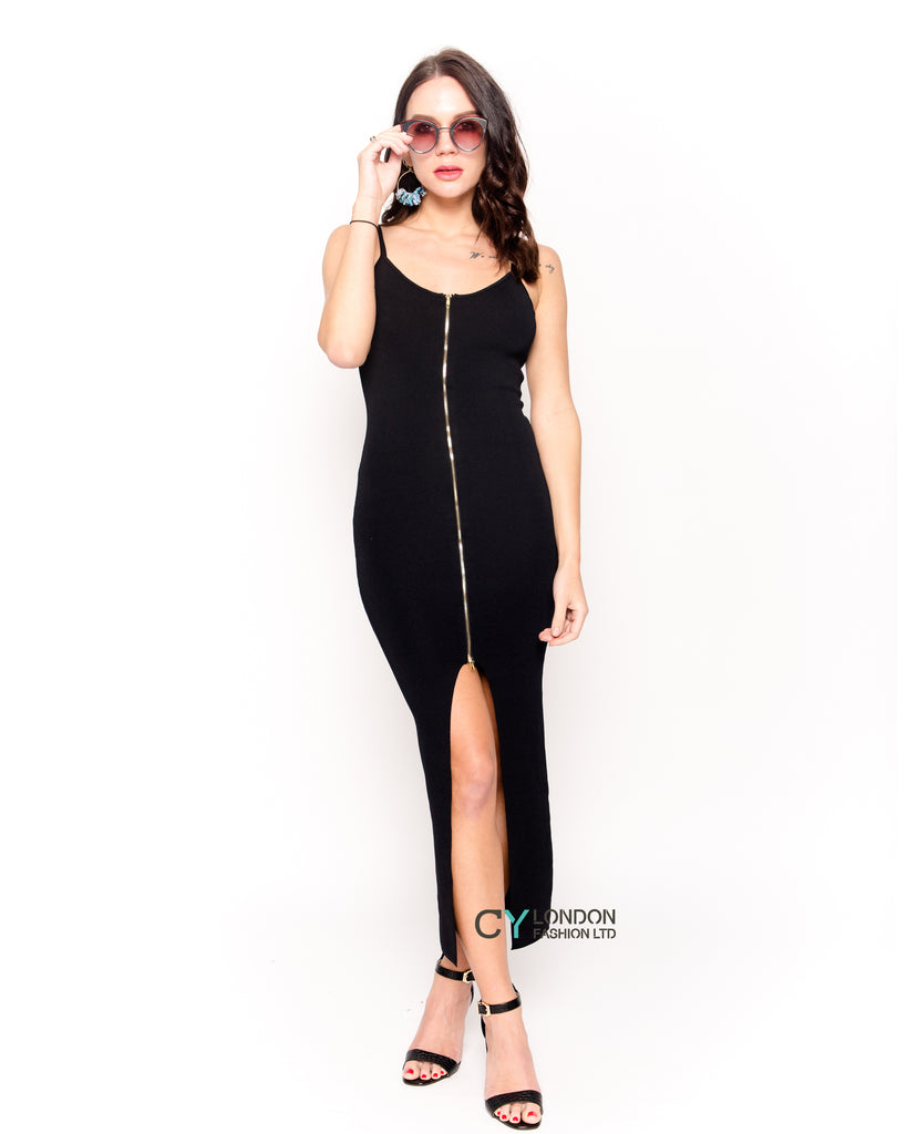 strappy long bodycon dress with double zip up design