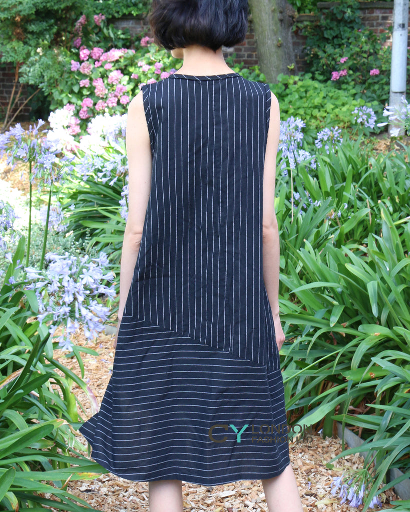 knot design Cotton blend dress with stripe print