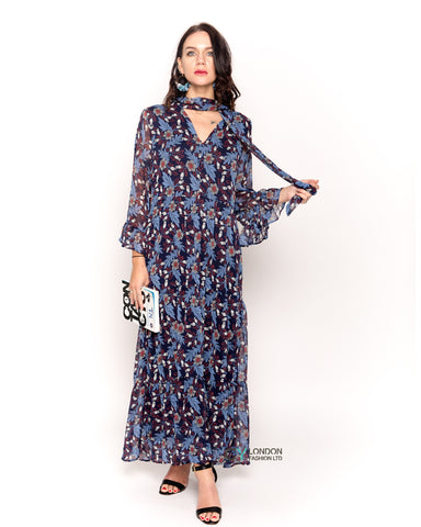 Floral print frilled sleeves maxi dress