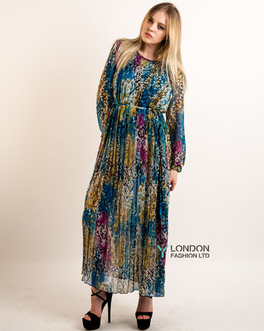 Blue multi print Pleated Long Sleeves Maxi Dress
