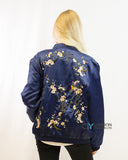 Bird & Floral embroidered quilted Satin Bomber Jacket
