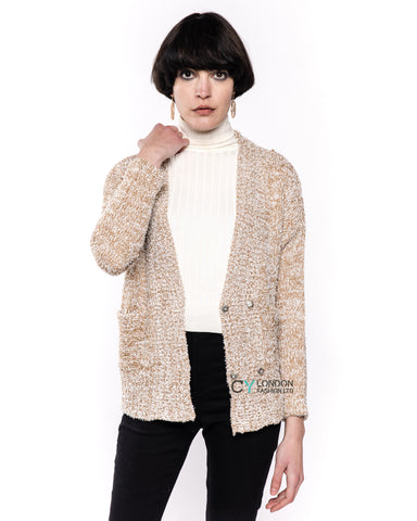 Fluffy V neck cardigan