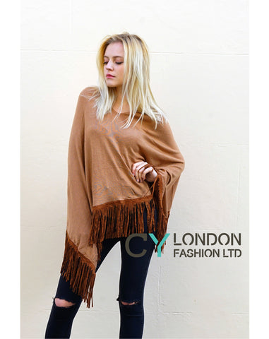 Faux Leather Tassel  Camel Knitted Cape