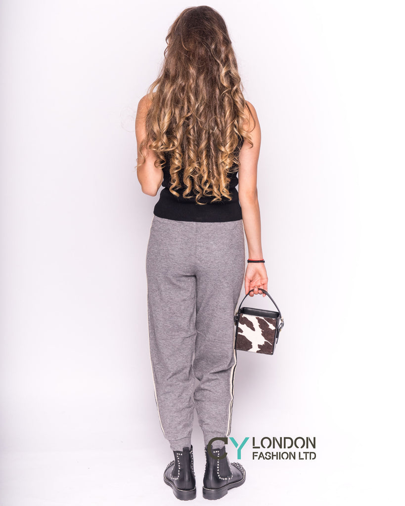 Soft Knit Jogging Bottoms with Side Stripes