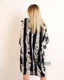 Black and cream contrast Print oversized tunic dress
