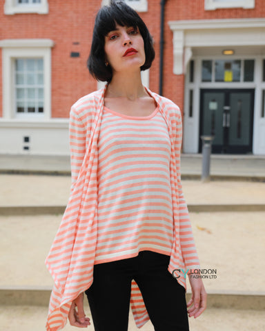 Knitted Stripe Print Waterfall Draped Cardigan