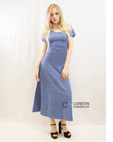Scoop Neck Short Sleeves Cotton Maxi Dress