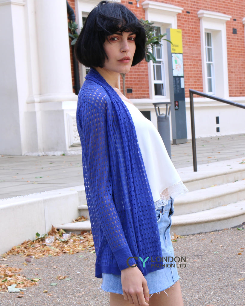 Relax Holiday fine knitted cardigan (Royal Blue)