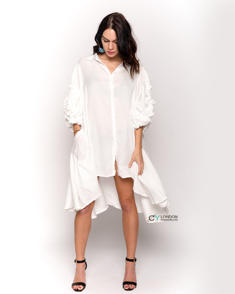 Floral sleeves design oversized sleeves shirt dress