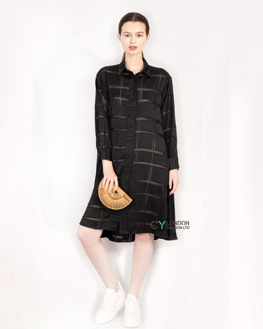 Check print oversized shirt dress with side pockets in black