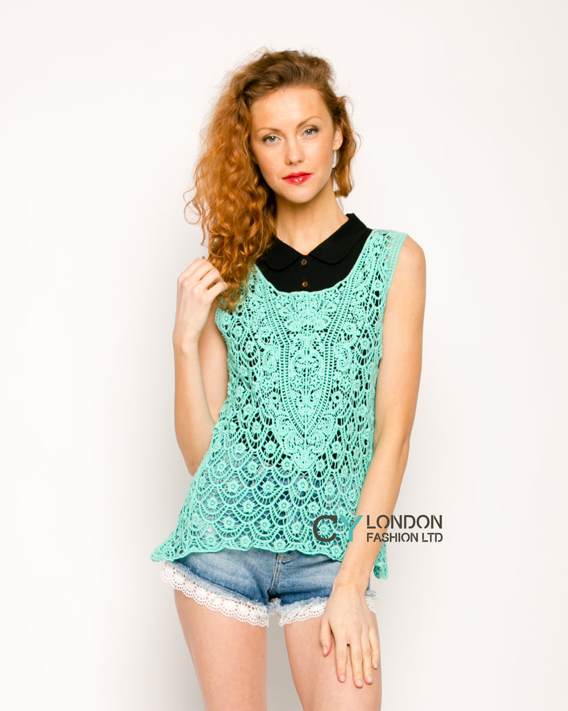 Floral Pattern Crochet Vest Top