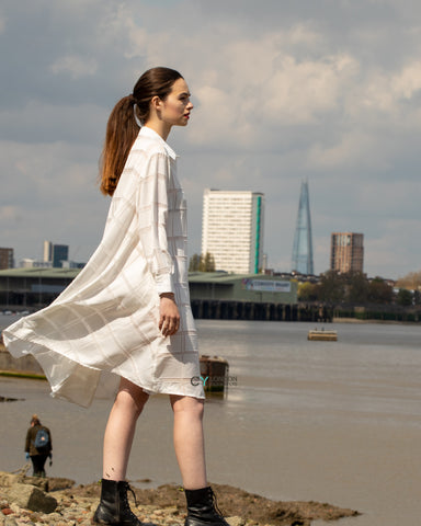 Check print oversized shirt dress with side pockets in white