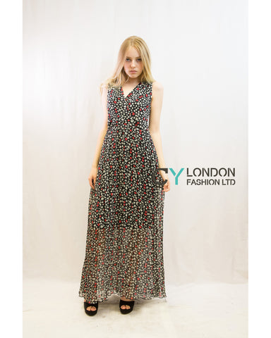 Chiffon Cross Wrap Maxi Dress Heart Print
