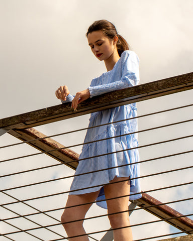 Blue check print cotton dress with shirred elastciated cuff sleeves