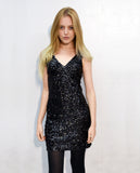 Plain color sequin V neck dress (Black)