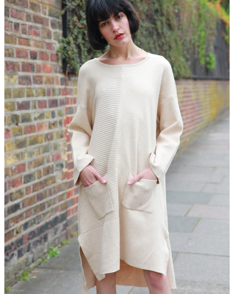 Wool blend knitted ribbed dress