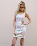 Plain color sequin V neck dress (White)