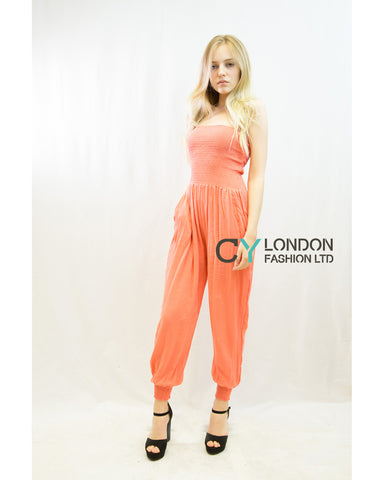 Cotton Bootube Jumpsuits (Peach)